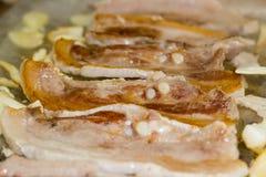 Korean Grilled Pork Strips Samgyeongsal. Korean Grilled Pork Strips with muchroom Royalty Free Stock Image