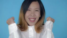 Korean happy female rejoice royalty free stock photography