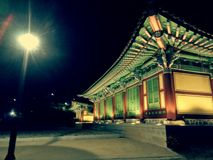 Korean Heritage Park. Old house, night shot, illuminate, culture, tradition Royalty Free Stock Photography