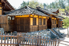 Korean Historic film-set wooden timber building on stone base stock photo