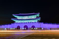 Korean historic site at night Stock Photography