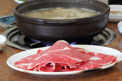 Korean hot pot. Delicious Korean hot pot with beef and vegetable royalty free stock photo