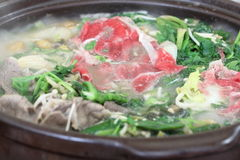 Vegetable and beef hot pot (Korean style) Royalty Free Stock Images