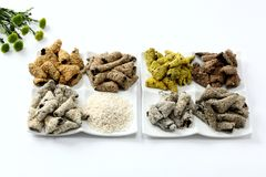 Korean kim glutinous rice snack on plate on white background Stock Images