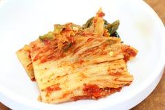 Korean kimchi. Korean appetizer - kimchi on white dish Royalty Free Stock Image