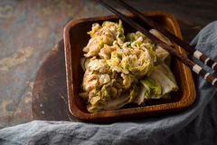 Image result for kimchi on  blue wooden table