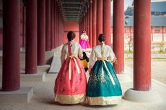 Korean lady in Hanbok Royalty Free Stock Photos