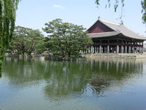 A Korean Lake And Palace in Seoul, South Korea stock images