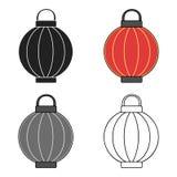 Korean lantern icon in cartoon style  on white background. South Korea symbol stock vector illustration. Stock Image