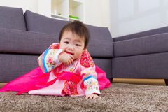Korean little girl crawl Stock Photo