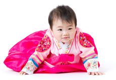 Korean Little girl crawling Royalty Free Stock Photo
