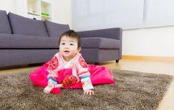 Korean little girl creeping Royalty Free Stock Image