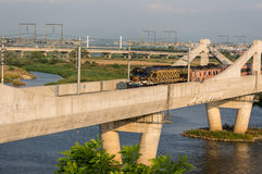 Korean locomotive on a bridge Royalty Free Stock Photo