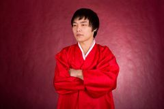 Korean man in a traditional dress Royalty Free Stock Photos