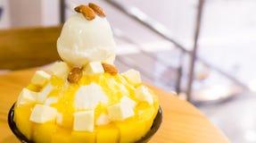 Korean Mango Bingsu Milk Ice Cream Royalty Free Stock Photo