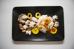 Korean marinated seafood with boiled rice Royalty Free Stock Photos