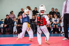 Taekwondo competitions between children. The Korean martial art of taekwondo. 17.03.2013, city of Orenburg, Southern Ural, Russia Stock Photography