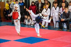 Taekwondo competitions between children Royalty Free Stock Image