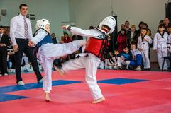 Taekwondo competitions between children Royalty Free Stock Photos