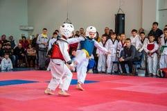 Taekwondo competitions between children Stock Photo