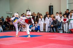 Taekwondo competitions between children. The Korean martial art of taekwondo. 17.03.2013, city of Orenburg, Southern Ural, Russia Royalty Free Stock Image