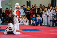 Taekwondo competitions between children. The Korean martial art of taekwondo. 17.03.2013, city of Orenburg, Southern Ural, Russia Stock Photo