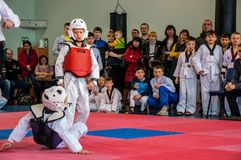 Taekwondo competitions between children. The Korean martial art of taekwondo. 17.03.2013, city of Orenburg, Southern Ural, Russia Stock Image