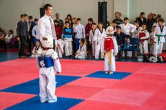 Taekwondo competitions between children. The Korean martial art of taekwondo. 17.03.2013, city of Orenburg, Southern Ural, Russia Stock Photos