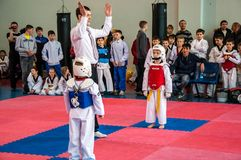 Taekwondo competitions between children. The Korean martial art of taekwondo. 17.03.2013, city of Orenburg, Southern Ural, Russia Royalty Free Stock Photos