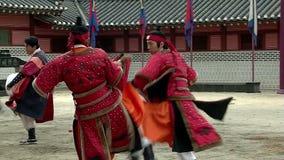Korean Martial Arts. Fights Korean Warriors Hvarang unarmed. Slow motion stock footage