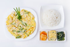 Korean meal. With omelet, rice and spicy vegetables royalty free stock photography