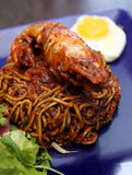 Korean Mee Goreng Cucur with fried noodle, giant prawn, egg and Stock Image