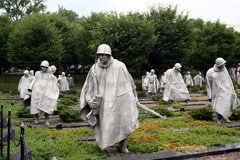 Korean Memorial. Korean War Memorial Statues of Soldiers in Washington, DC Royalty Free Stock Image