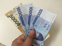 Korean money new notes. Korean money nice new notes Stock Photography