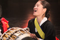Korean musician. buk player. Stock Images