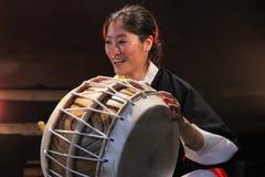 Korean musician. buk player. Stock Photo
