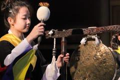 Korean musician.  jing player. Stock Photo
