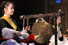 Korean musician.  jing player. Stock Photos