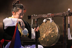 Korean musician.  jing player. Royalty Free Stock Images