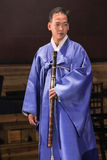 Korean musician.  taegum player. Royalty Free Stock Images