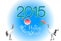 Korean new year greeting card background with crane birds - eps10 illustration Stock Photo