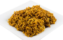 Noodles. Korean noodles mixed with black bean sauce on a plate Stock Photography