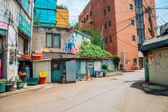 Korean old restaurant and street at spring day Royalty Free Stock Photos