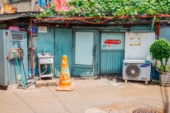 Korean old restaurant and street at spring day Stock Photos