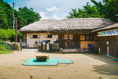 Korean old traditional cottage house with tree at summer day in Asan Oeam Folk Village Royalty Free Stock Photo