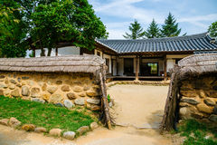 Korean old traditional tile-roofed house under blue sky Stock Photography