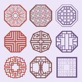 Korean old of Window Frame Symbol sets. Korean traditional Patte Stock Photos