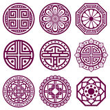 Korean ornament, asian traditional vector symbols, bathroom pattern. Round elements in traditional korean style, illustration of korean tattoo Stock Illustration