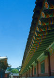Korean palace. Ancient korean temple consisting of many multicolored beams Stock Photo