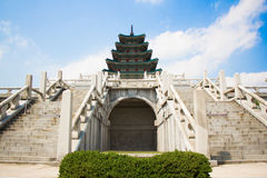A Korean palace. A gorgeous Korean historical palace with blue sky background Stock Photos